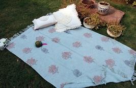 Sky Blue Cotton Handmade Throw Blanket, Boho  Blanket, Decorative Sofa T... - €53,47 EUR