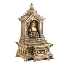 Small Fountain, Buddha Water Fountain, 3 Tire Golden Buddha Temple Fount... - $52.93