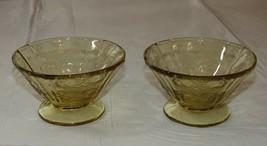 Amber Glass Depression glass Icecream dish 2 bowls Federal Madrid vintage - $16.03