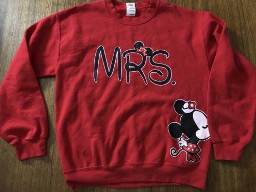 Disney MRS Wedding Sweatshirt Hooded Sweatshirt Minnie Mouse Medium Adult