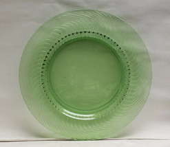 "Rare Heisey Glass 12"" Charger - Reverse Spiral Pattern #1249 In Moongleam Green - $82.95"