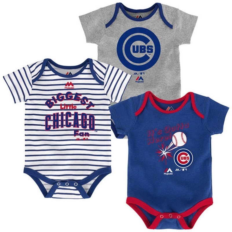 Chicago Cubs Infant Home Run Bodysuit 3-Piece Set MLB Baby Baseball