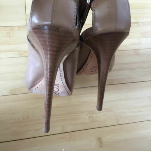 Michael Kors Heels Open Toe leather tan nude size 9.5 EUC image 7