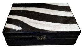 """Genuine Zebra Hide Skin Leather Jewelry Box #5 Size:10.3""""X7.3""""X2.7"""" Zebr... - €134,69 EUR"""