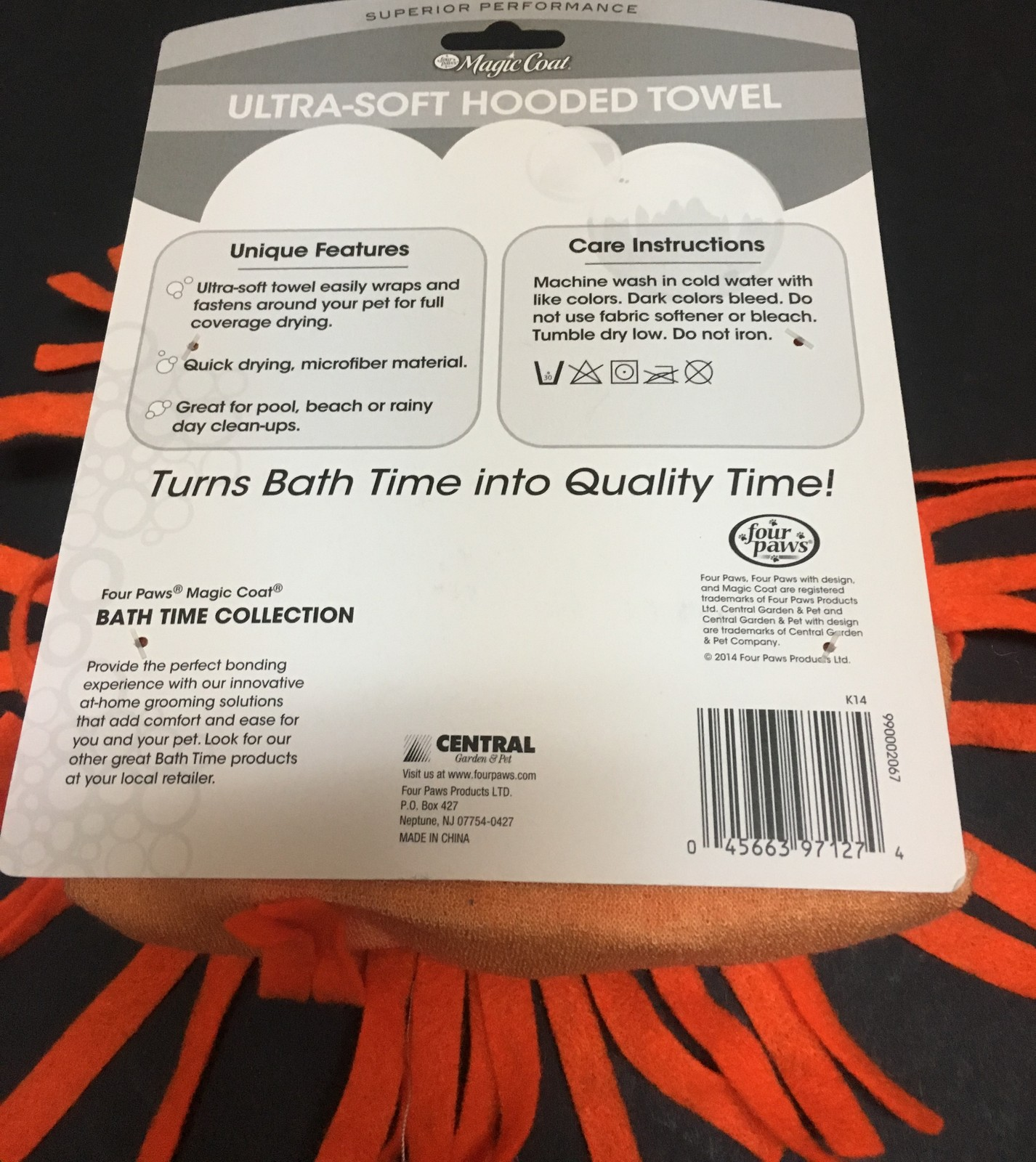 Dog Hoodie Bath Towel Ultra Soft Large/Xtra Large Tiger Orange