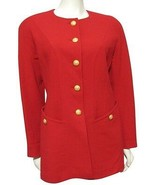 Escada 100% Wool Red Blazer Jacket Women M 10 Gold Crest Button Germany 40  - $79.15