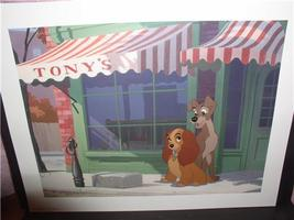 Disney - Lady and the  Tramp -  Dog - AT Tonys Restaurant  - Lithograph - $18.29
