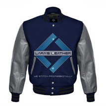 Top Baseball Varsity College Wool Jacket with Grey Real Leather Sleeve X... - $80.19+