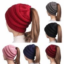 Women Stretch Knit Ski Hat Messy Bun Ponytail Beanie Holey Warm Hats Win... - $23.30