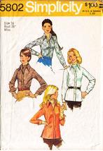 1973 Misses' SHIRT & ASCOT TIE Pattern 5802-s Size 16 - UNCUT - $12.99
