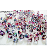 100Pcs Top Quality Czech Crystal Bicone Beads Exclusive 3mm 4mm Pomegranate - $4.10