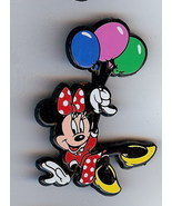 Disney  Minnie Mouse with balloons English UK plastic  Pin/Pins - $9.74