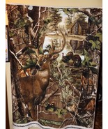 Realtree Buck Deer with Turkeys Fleece Fabric Panel -- New - $28.49