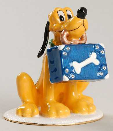 Disney Pluto with suitcase jeweled keepsake treasure box HB Figurine