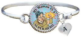My Mamaw is a Super Hero Comic Look Silver Cuff Bracelet Jewelry Choose Initial - $14.24