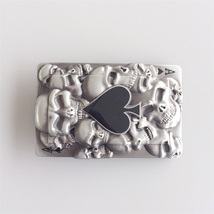 New Jean's Friend Original Tattoo Skulls Ace Spade Rectangle Belt Buckle Gurtels - $8.39