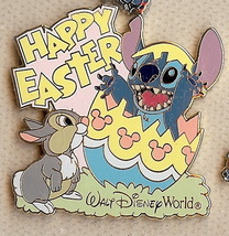 Disney Stitch & Thumper rabit from Bambi  WDW - Happy Easter 2004 pin/pins - $24.68