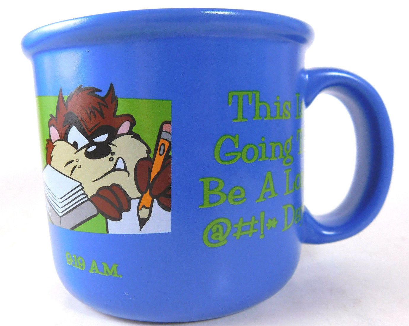 "Taz Tasmanian Devil Blue 1997 Mug  ""This Is Going to be a Long Day"" - $6.77"