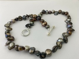 "Vintage Black Mother-Of-Pearl Beaded Necklace, 19"" - $16.14"