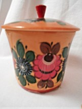 "Cynehnp Wooden Dish With Lids 3"" tall 3 3/8"" opening hand painted florea... - $19.42"