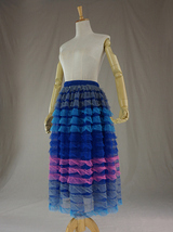 Multi-Color Tiered Tulle Skirt Layered Tulle Midi Skirt Custom Any Size image 4