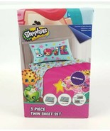 Shopkins Love 3 Piece Twin Microfiber Fitted & Flat Sheet Set 1 Pillow C... - $21.82