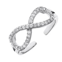Toe Ring with Infinity Symbol in Sterling Silver with Cubic Zirconia - $26.73