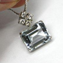 Halskette Weißgold 750 - 18k, Anhänger Aquamarin Schliff Smaragd und Diamanten image 4
