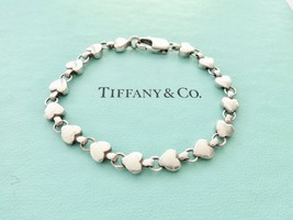 "Authentic Tiffany and Co. Chain of Hearts Link 925 Sterling Silver Bracelet 6.5"" - $135.00"