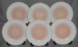 Set (6) Fitz and Floyd IMPERIAL CREST PATTERN - PEACH COLOR Salad Plates - $63.35