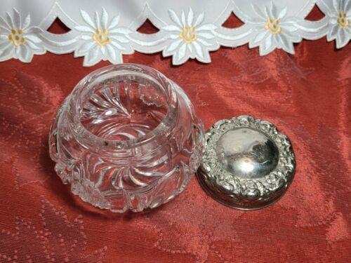 "EAPG Dresser Powder Jar with Metal Lid and Flower Design 4"" x 4"" x 4"""