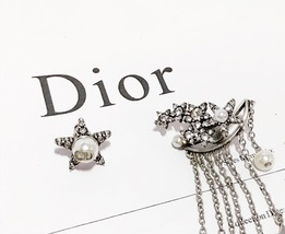 AUTHENTIC Christian Dior STAR CD LOGO CHARM Multi Chain Long Dangle Earrings image 7