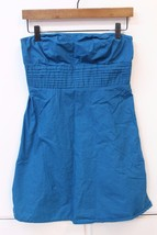 W12007 Womens GAP teal blue 100% cotton back-zip A-LINE STRAPLESS DRESS,... - $26.06