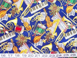 1/2 yard music/Christmas/instruments blue quilt fabric -free shipping