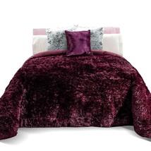 Purple Luxurious and Warm Faux-Fur Malbec Platinum Blanket by Intima Hogar - $98.95+