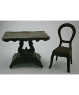 Cast Iron Victorian Toy Table with Fancy Base and Chair made in USA 19th... - $44.55