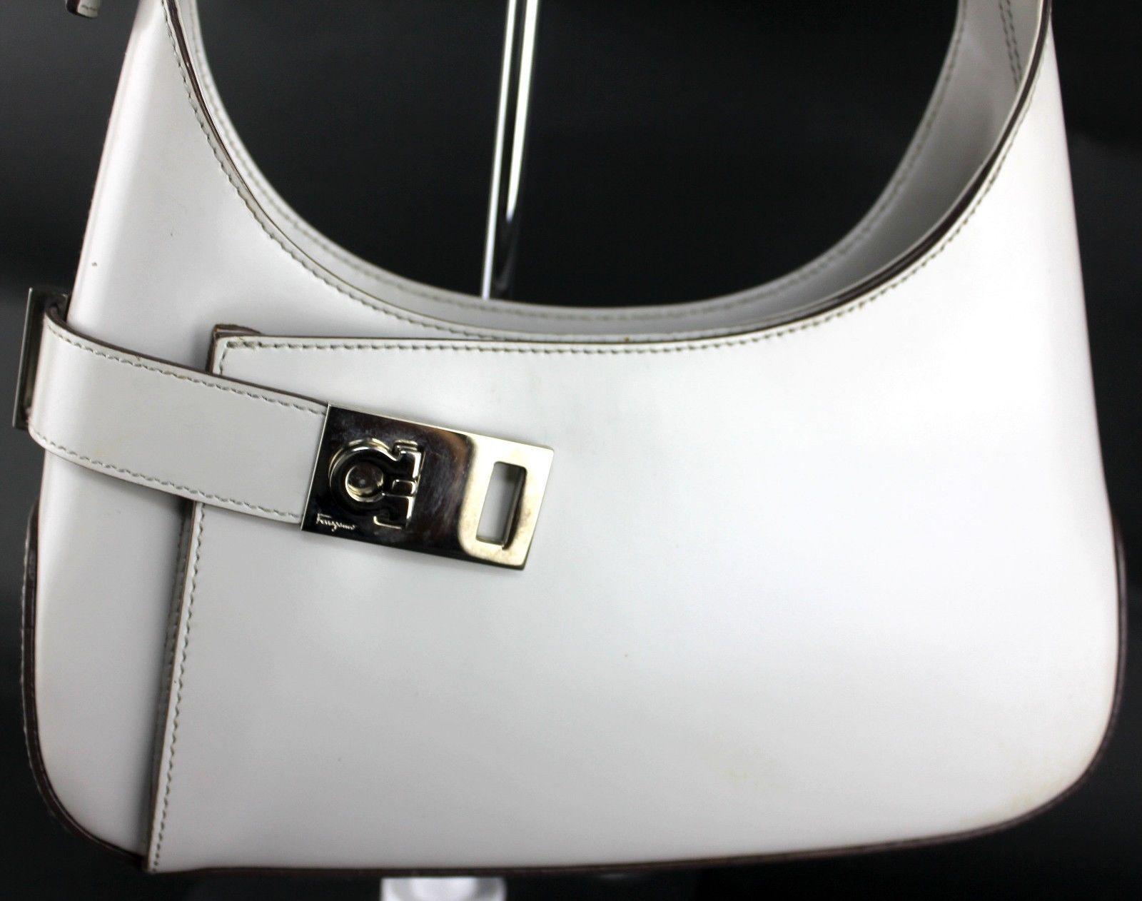 S l1600. S l1600. Previous. Auth Salvatore Ferragamo Gancini Grey leather  hobo shoulder bag Italy AQ210348 9bd701d648887
