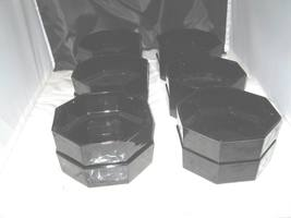 (12)  Black Arcoroc Octime France octagon glass soup cereal salad bowls-... - $19.99