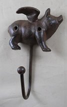 GSM Iron Flying Pig Coat Rack with a Hook,Brown image 2