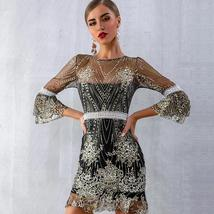 Women's Brand Fashion Lace Sequin  Black Half Sleeve Party Dress