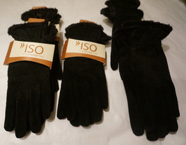 Womens Isotoner Gloves Large Medium Black Leather Micro Luxe Lining - $28.00+
