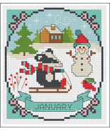 January A Year of Animals Fun & Frolics cross stitch chart Tiny Modernist  - $6.00