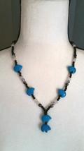 Zuni Style, Bear Beaded Necklace with Howlite Bears Tourmaline Boho Chic - $24.74