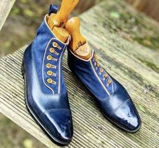 Handmade Men's Blue Leather And Suede Two Tone Buttons Boots image 5
