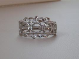 14K White Gold Overlay Filigree Ring Size 9.25 - $13.95