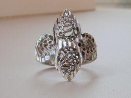 14K White Gold Overlay Filigree Ring size 7 - $13.95