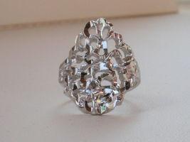14K White Gold Overlay Filigree Ring size 9.5 - $13.95