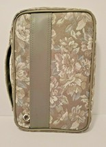 Flower Cloth Bible Cover Case With Zipper Handle Vinyl Inside  - $19.79