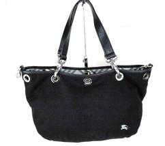 Auth BURBERRY LONDON BLUE LABEL Black Cotton & Leather Tote Shoulder Bag... - $157.41