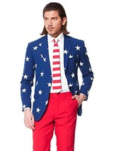 OppoSuits Men's Stars and Stripes Party Costume Suit, Blue/Red/White, 50 - $137.13